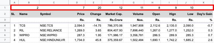 Google Finance Portfolio Tracker for Indian Stocks (using